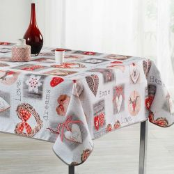 Tablecloth beige with hearts squares and love 240 X 148 French tablecloths