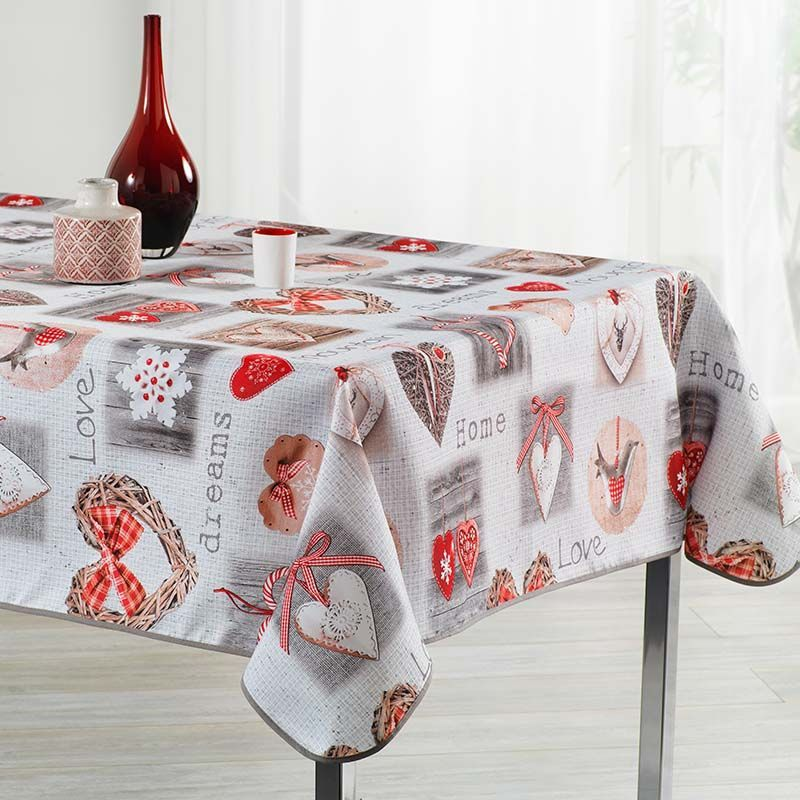 Tablecloth beige with hearts squares and love 350 X 148 French tablecloths