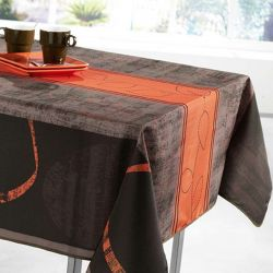 Tablecloth orange stripe leaves 300 X 148 French tablecloths