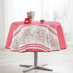 Tablecloth gingham with chickens 160 round French tablecloths