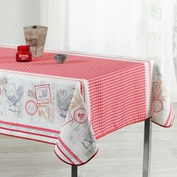 Tablecloth gingham with chickens 240 X 148 French tablecloths