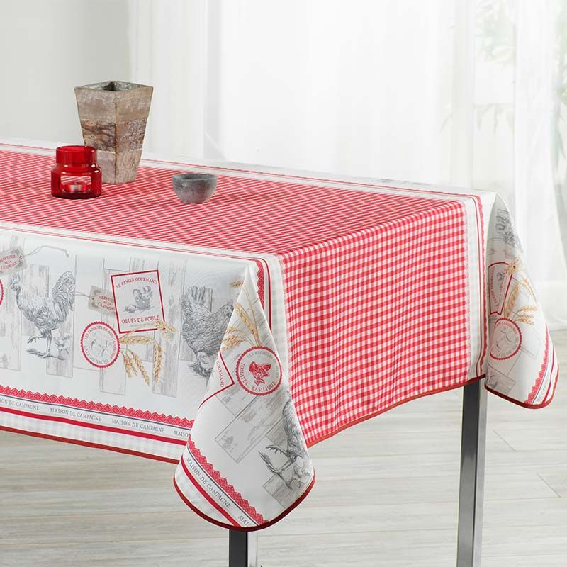 Tablecloth gingham with chickens 350 X 148 French tablecloths