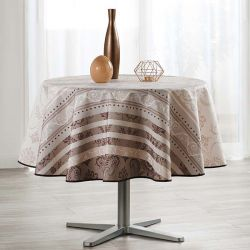 Tablecloth white with ornament print 160 round French tablecloths