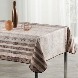 Tablecloth white with ornament print 240 X 148 French tablecloths
