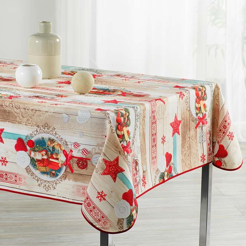 Tablecloth beige Christmas 240 X 148 French Tablecloths