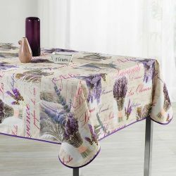 Tablecloth beige with lavender and text 240 X 148 French tablecloths