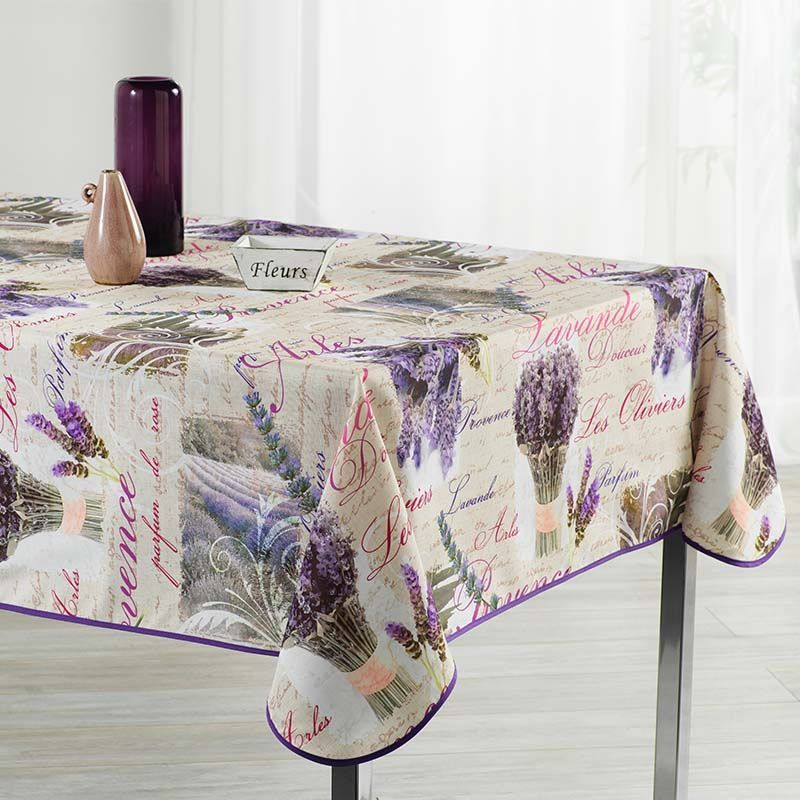 Tablecloth beige with lavender and text 300 X 148 French tablecloths