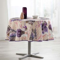 Tablecloth beige with lavender and text 160 round French tablecloths