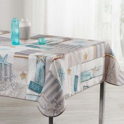 Tablecloth gray beach 240 X 148 French tablecloths. Camping and terrace, inside and out.