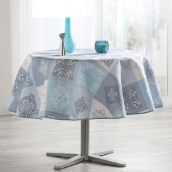 Tablecloth sky blue with ornaments 160 round French tablecloths. Camping and terrace, inside and out.