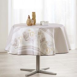 Tablecloth gray gingham with chickens 160 round French tablecloths. Camping and terrace, inside and out.