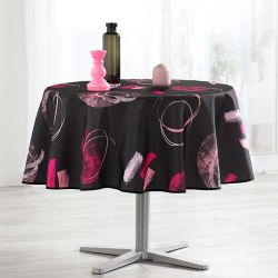 Tablecloth black abstract 160 round French tablecloths