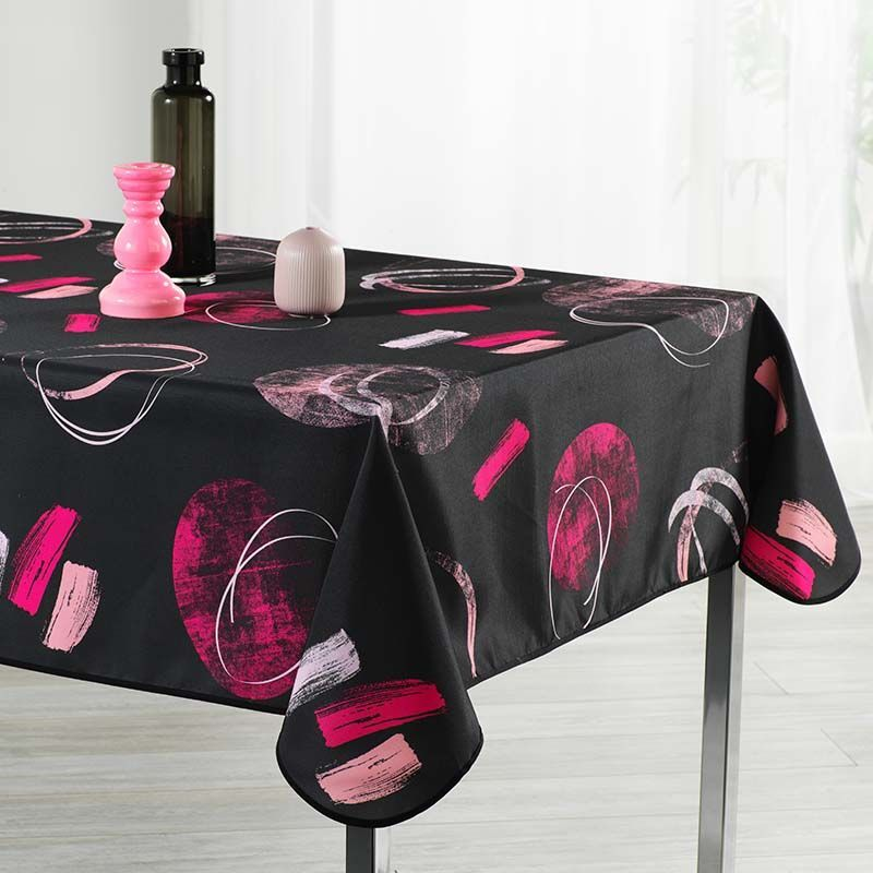 Tablecloth 300x148 cm Rectangle black abstract. Camping und terrasse, innen und aussen.