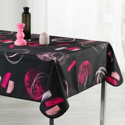 Tablecloth black abstract 350 X 148 French tablecloths. Camping and terrace, inside and out.