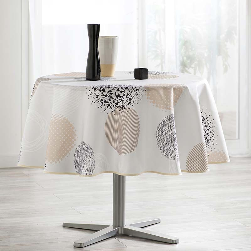 Tablecloth beige with circles 160 round French tablecloths. Camping and terrace, inside and out.