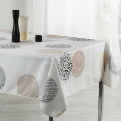 Tablecloth beige with circles 200 X 148 French tablecloths. Camping and terrace, inside and out