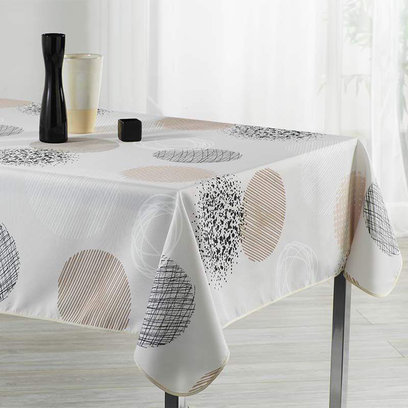 Tablecloth beige with circles 300 X 148 French tablecloths. Camping and terrace, inside and out.