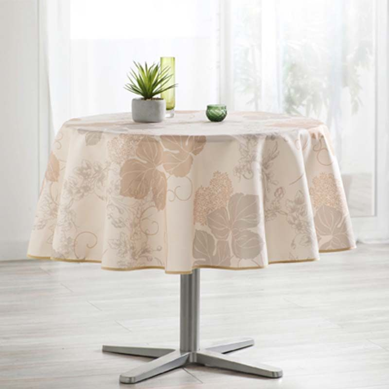Tablecloth beige with leaves 160 round French tablecloths. Camping and terrace, inside and out.