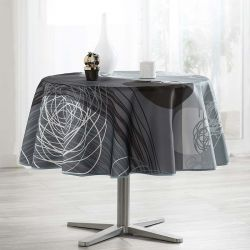Tablecloth gray black stripes and circles 160 around French tablecloths. Camping and terrace, inside and out.