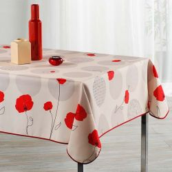 Beautiful tablecloth beige with red poppy. 300 x 148 cm. Camping and terrace, inside and out.