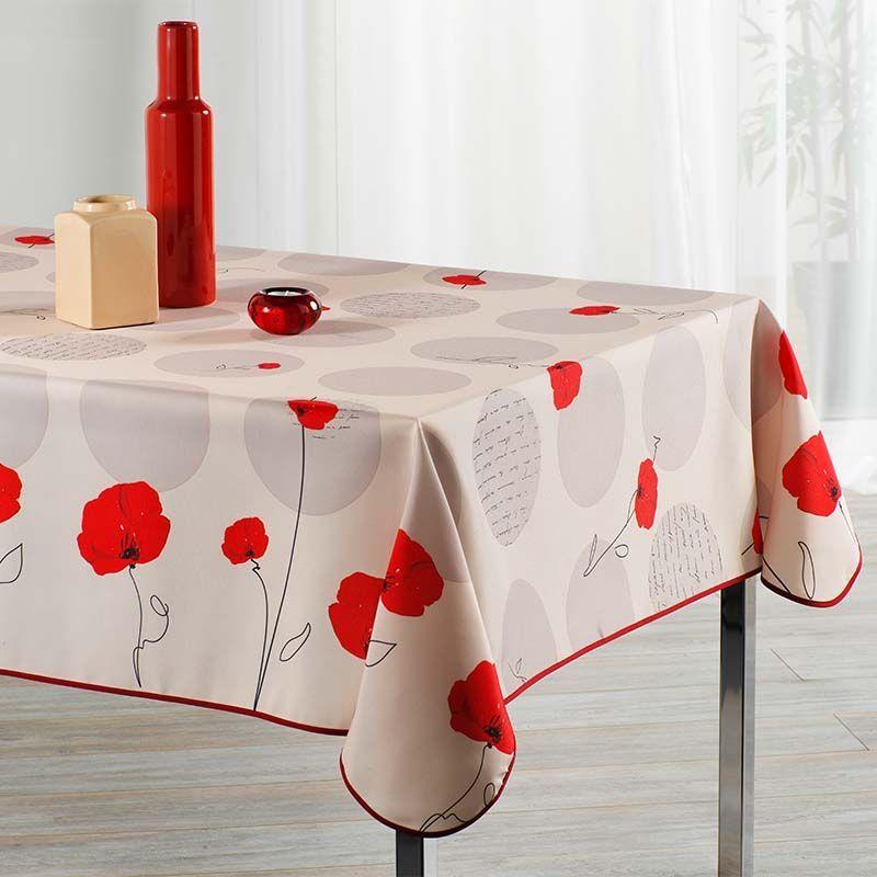 Mooie tafelkleed beige met rode klaproos. 300 x 148 cm. Camping en terras, binnen en buiten.