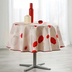Tablecloth 160 round beige with red poppy French tablecloths. Camping and terrace, inside and out.