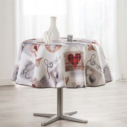 Tablecloth 160 round ecru with hearts knit and love French tablecloths. Camping and terrace, inside and out.