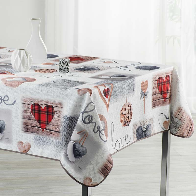 Ecru tablecloth with hearts knitting and love 300 X 148 French tablecloths. Camping and terrace, inside and out.