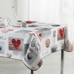 Ecru tablecloth with hearts knitting and love 350 X 148 French tablecloths. Camping and terrace, inside and out.