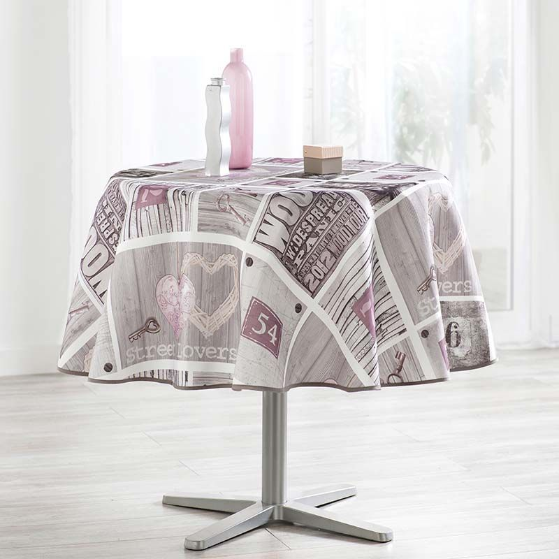 Camping and terrace, inside and out. Tablecloth 160 round gray with beige and figures French tablecloths