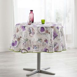 Camping and terrace, inside and out. Tablecloth wood print beige lavender 160 round French tablecloths