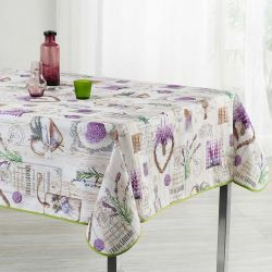 Tablecloth wood print beige lavender 200 X 148 French tablecloths. Camping and terrace, inside and out.