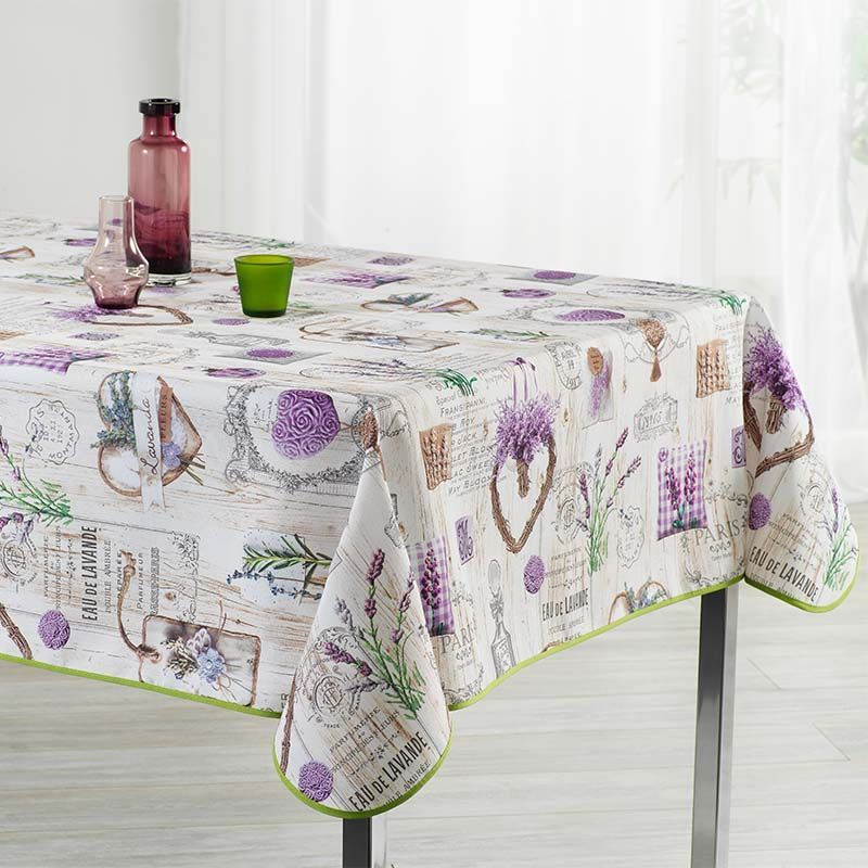 Camping and terrace, inside and out. Tablecloth wood print beige lavender 240 X 148 French tablecloths