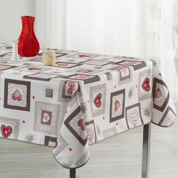 Ecru tablecloth with squares and hearts 300 X 148 French tablecloths. Camping and terrace, inside and out.
