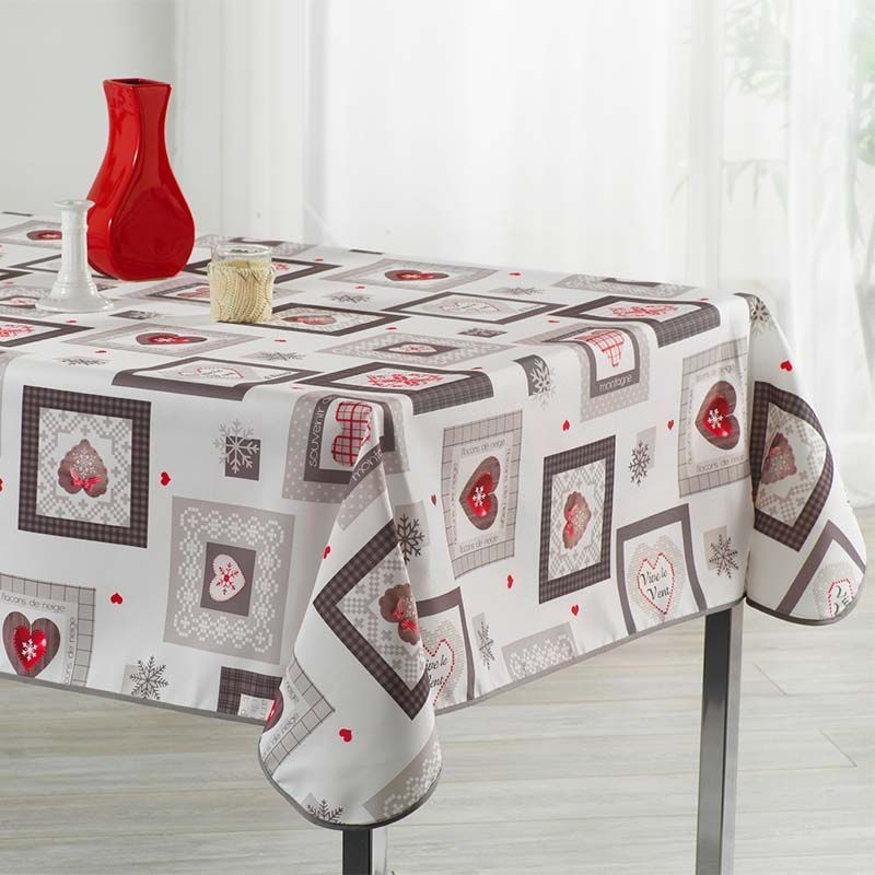 Ecru tablecloth with squares and hearts 350 X 148 French tablecloths. Camping and terrace, inside and out.