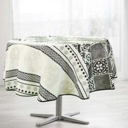 Tablecloth beige with gray mosaic 160 round French tablecloths