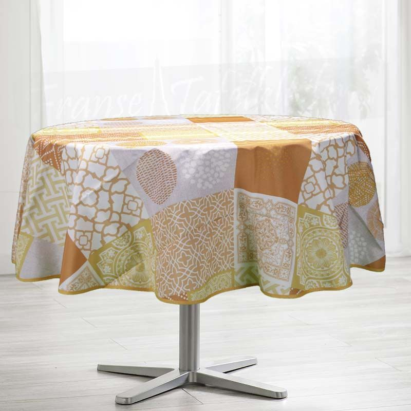 Tablecloth orange with mosaic 160 round French tablecloths