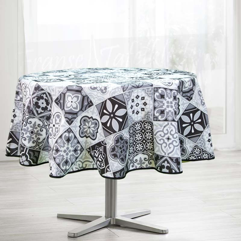Tablecloth gray with mosaic 160 round French tablecloths