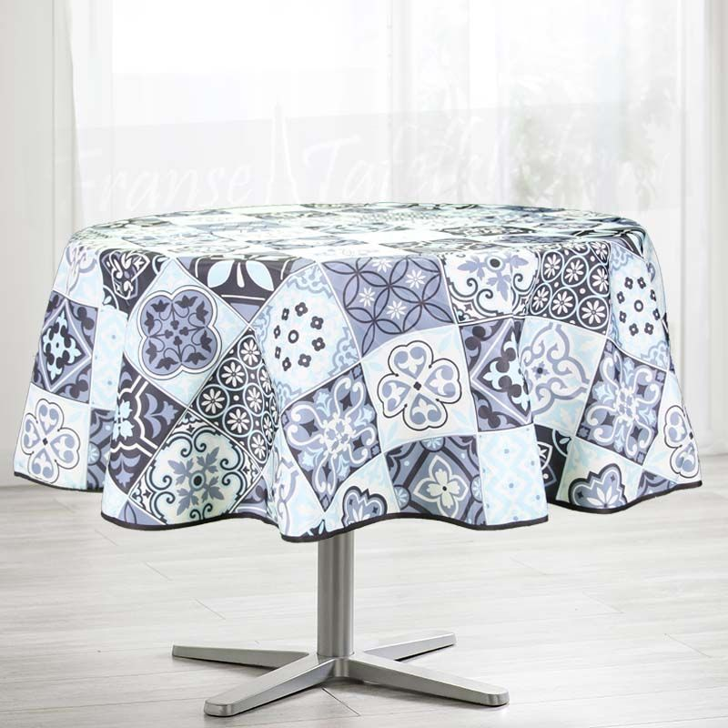 Tablecloth blue mosaic 160 round French tablecloths