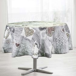 Tablecloth gray, anthracite with hearts 160 round French tablecloths