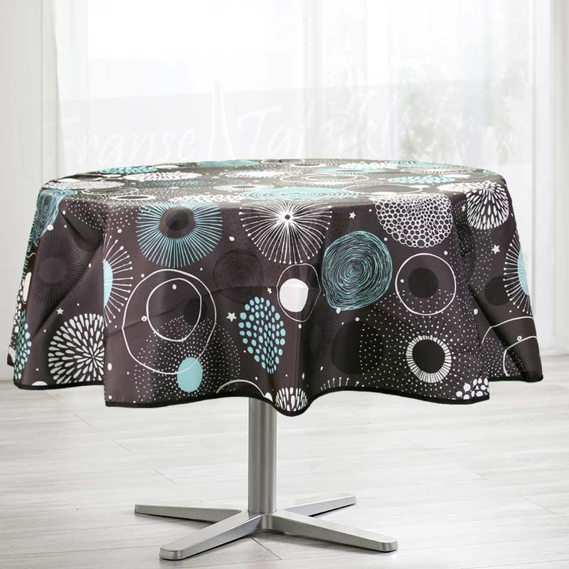 Tablecloth geometric blue turquoise 160 round French tablecloths