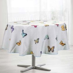 Tablecloth gray with butterflies 160 round French tablecloths