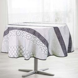 Tablecloth ecru, circles and dots 160 round French tablecloths