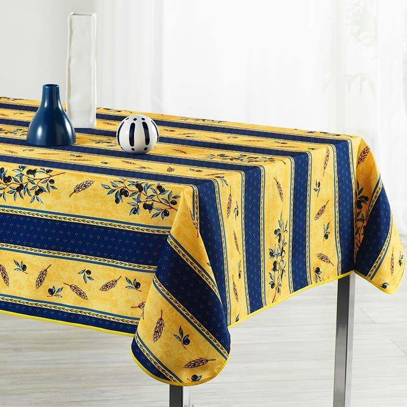Tablecloth blue, yellow with olives 160 cm Round French tablecloths