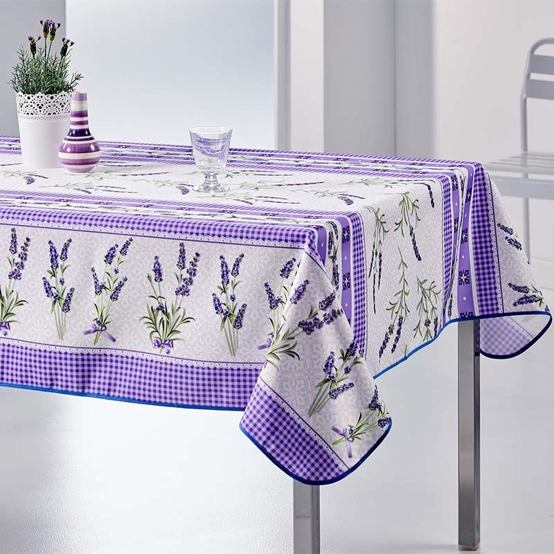 Tablecloth gingham purple 200 X 148 French tablecloths