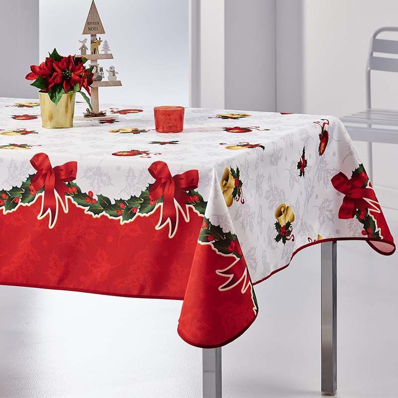 Tablecloth white red Christmas 350 X 148 French tablecloths