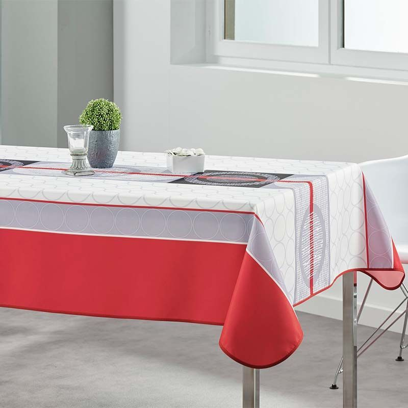 Tafelkleed wit rood grijs rondjes  240 X 148 Franse Tafelkleden