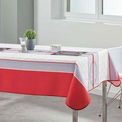 Tafelkleed wit, grijs, rood en rondjes  300 X 148 Franse Tafelkleden
