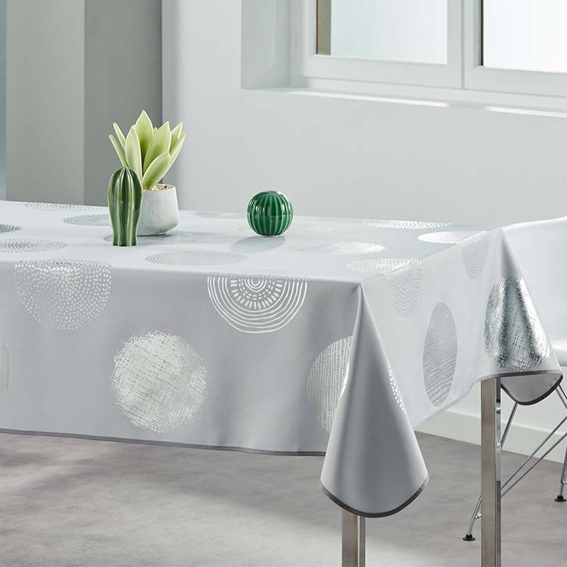 Tablecloth gray with silver circles 240 X 148 French tablecloths