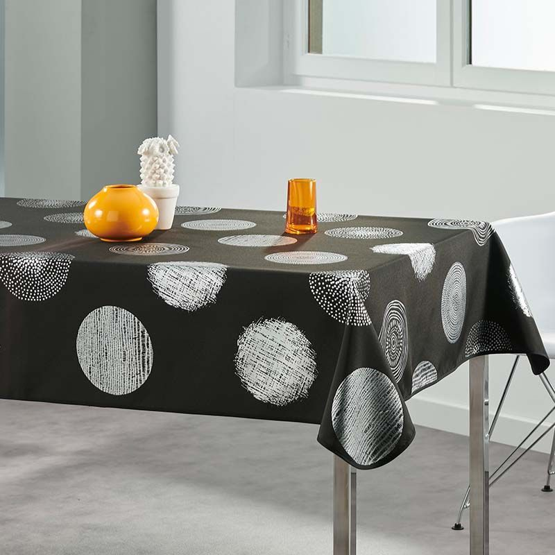 Tablecloth black with silver circles 300 X 140 French tablecloths